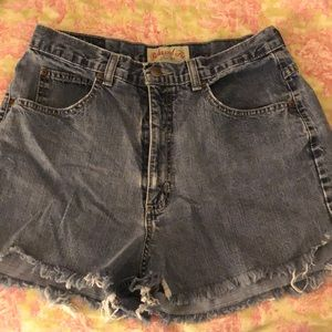 Jean shorts with studs on back pockets